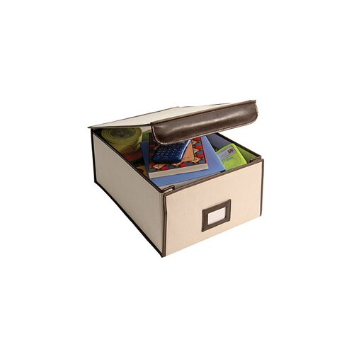 Richards Homewares Natural Canvas Storage Faux Leather Trim Box Large