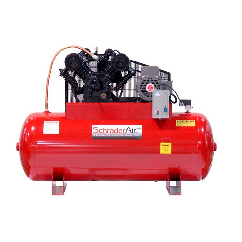 Schrader International 120 Gallon Professional Series 2 Stage 30 HP Horizontal Air Compressor with After Coolor