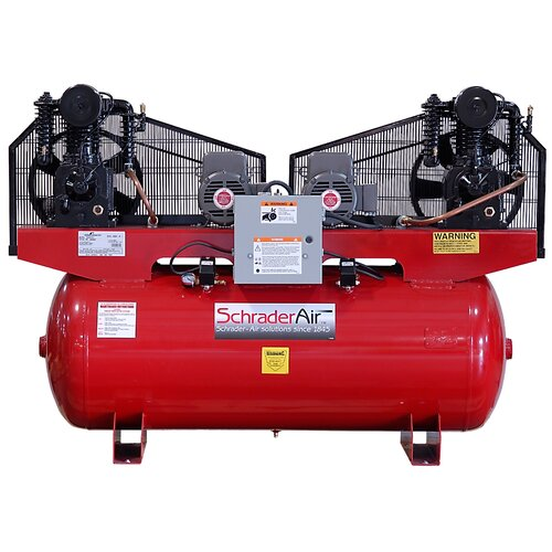 Schrader International 120 Gallon Duplex Professional Series 2 Stage 5HP Single Phase Horizontal Air Compressor