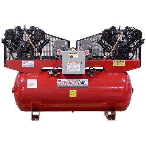 Schrader International Duplex Professional Series Two Stage 10 HP 120 Gallon Horizontal Air Compressor