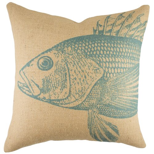 Large Fish Burlap Pillow