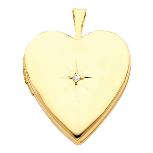 Precious Stars 14k Solid Yellow Gold with Diamond Fully Open Close Function Heart Locket Pendant
