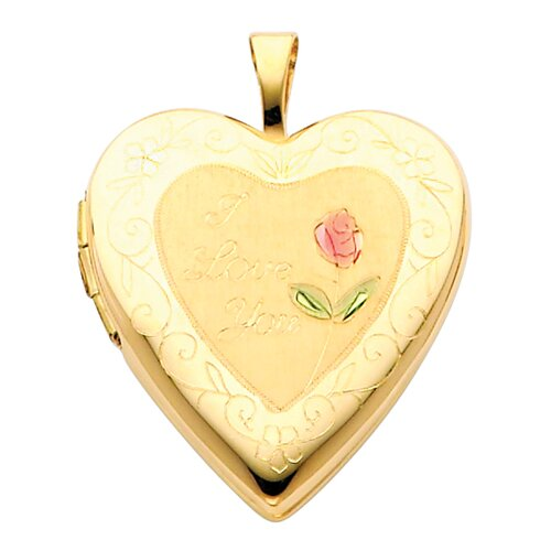 Precious Stars 14k Solid Yellow Gold Engraved 'I Love You' with Rose Fully Open Close Function Heart Locket Pendant
