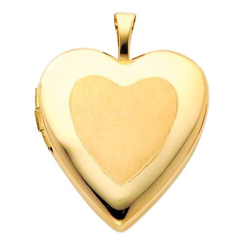 Precious Stars 14k Solid Yellow Gold Satin Face Fully Open Close Function Heart Locket Pendant