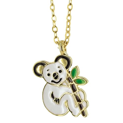 Goldtone and Enamel Animal Koala Necklace