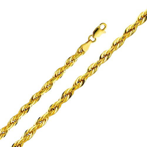 14kt Yellow Gold 4mm Hollow Rope Chain