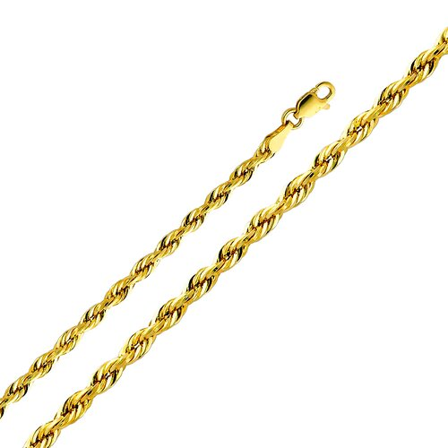 14kt Yellow Gold 3mm Hollow Rope Chain