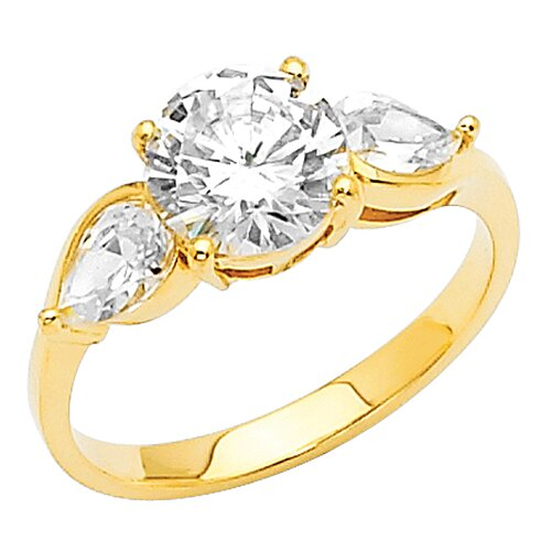 Precious Stars 14K Gold Round and Pears Cubic Zirconia Ring