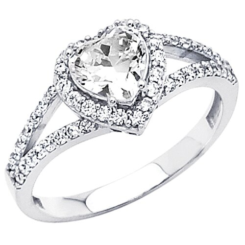 Precious Stars 14K Gold Heart Shape Cubic Zirconia Halo Ring