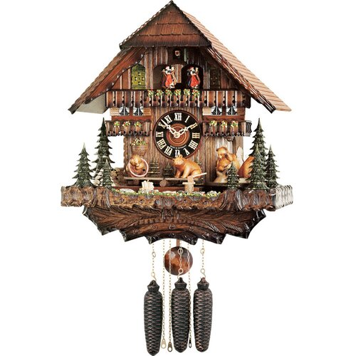Musical Cuckoo Clocks with Bears Seesaw and Revolve on Turntable Design