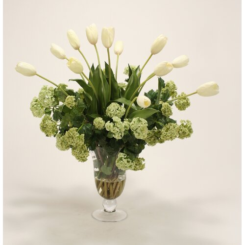 Distinctive Designs Waterlook Silk Tulips with Snowballs in Flared Ball and Stem Vase