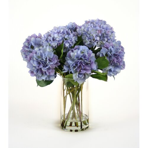 Distinctive Designs Silk Hydrangeas in Glass Vase