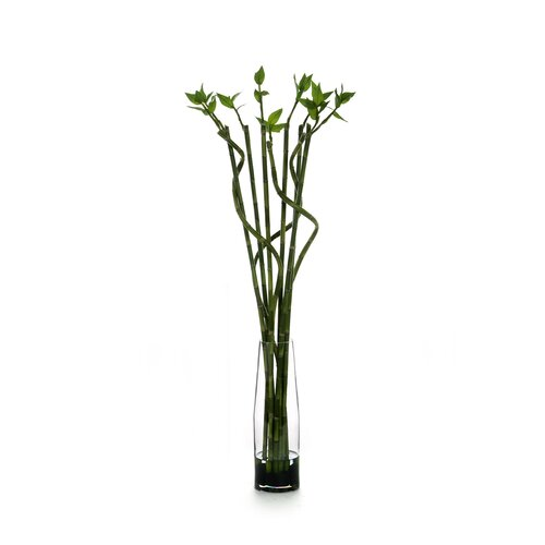 Distinctive Designs Silk Lucky Bamboo Floor Plant in Decorative Vase