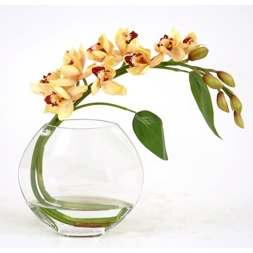 Distinctive Designs Silk Orchid Spray in Glass Disk Vase