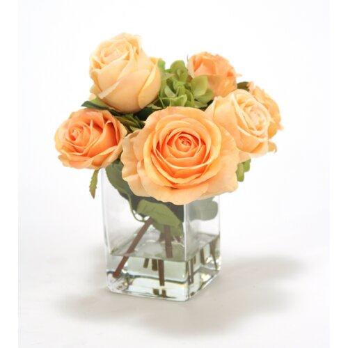 Distinctive Designs Waterlook Silk Roses and Hydrangeas in Vase