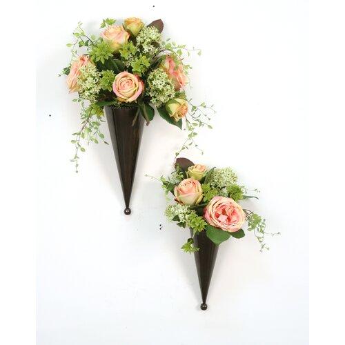 Distinctive Designs Silk Floral Nosegays in Metal Cones