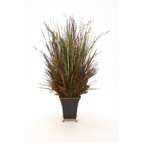 Distinctive Designs Preserved Grass, Reeds and Pods with Feathers Floor Plant in Pot