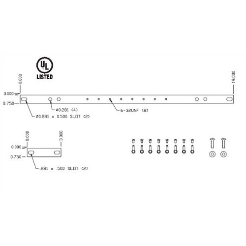 "Chatsworth Horizontal Rack Bus Bar for 19"" Racks"