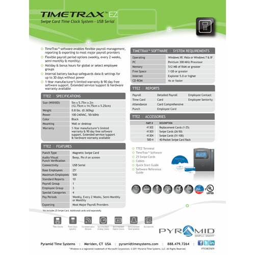 Pyramid TTEZ Automated Swipe Card Time Clock System (Ethernet)