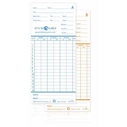 Pyramid Time Card for Model 2600 Time Clock