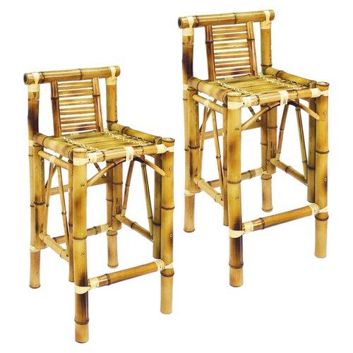 "RAM Gameroom Products Bamboo Tiki 28"" Barstool (Set of 2)"