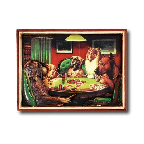 RAM Gameroom Products Game Room Poker Dogs with Cigars Framed Vintage Advertisement
