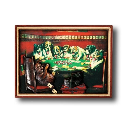 RAM Gameroom Products Game Room Poker Dogs Under the Table Framed Vintage Advertisement