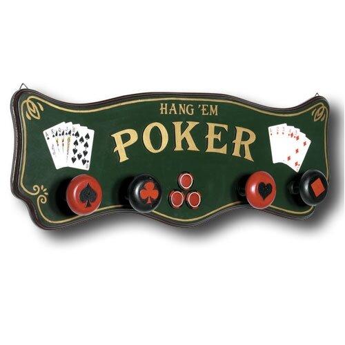 Game Room Hand-Carved Poker Coat Rack