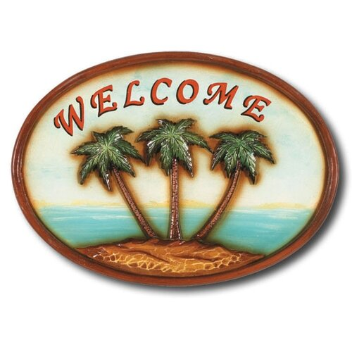"RAM Gameroom Products ""Welcome"" Palm Trees Outdoor Sign"
