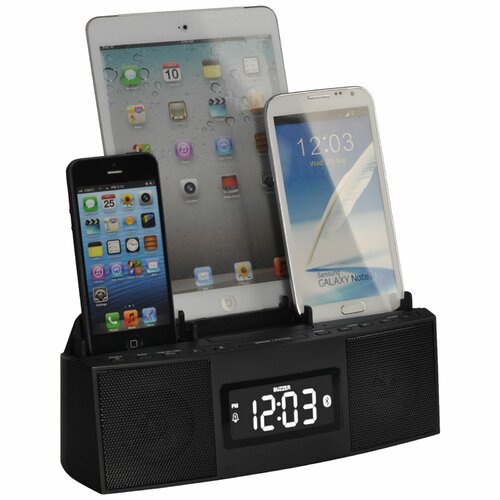 3 Port Charger with Speakerphone (Bluetooth), Alarm, Clock, and FM Radio