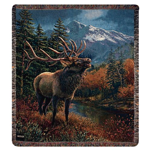 Manual Woodworkers & Weavers Bull Elk Tapestry Cotton Throw