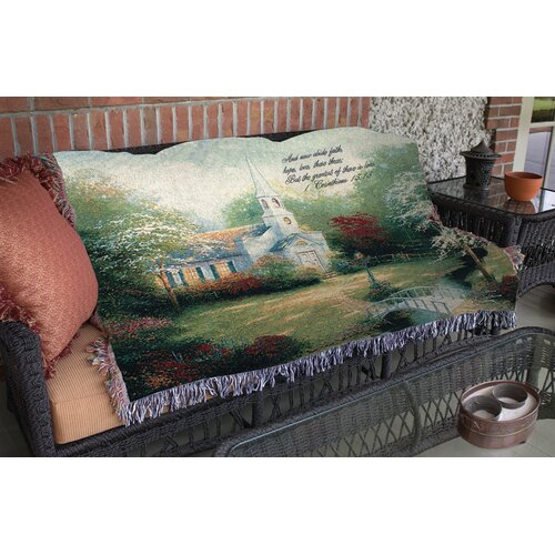Manual Woodworkers & Weavers Hometown Chapel Verse Tapestry Cotton Throw