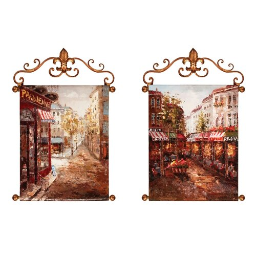 Rue De Paris Original Painting on Canvas (Set of 2)