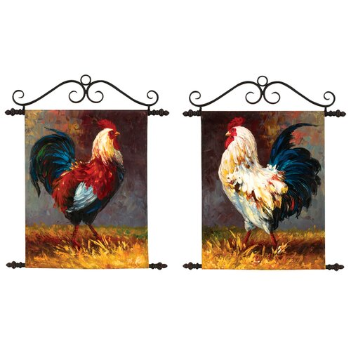 Manual Woodworkers & Weavers Roosters Original Painting on Canvas