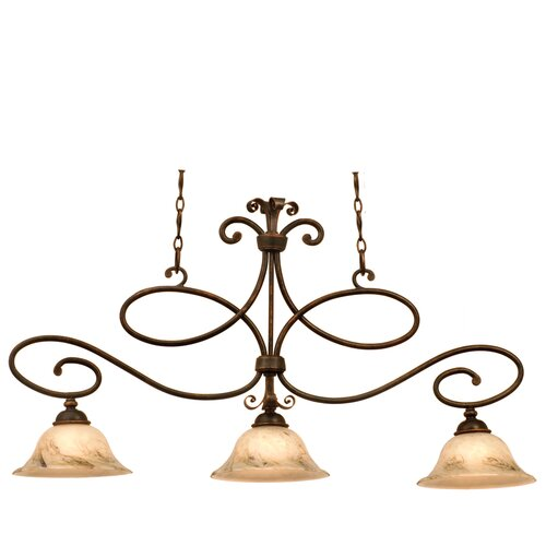 Kalco Amelie 3 Light Kitchen Island Pendant in Antique Copper