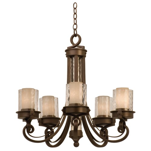 Kalco Newport 5 Light Chandelier with Glass Shade