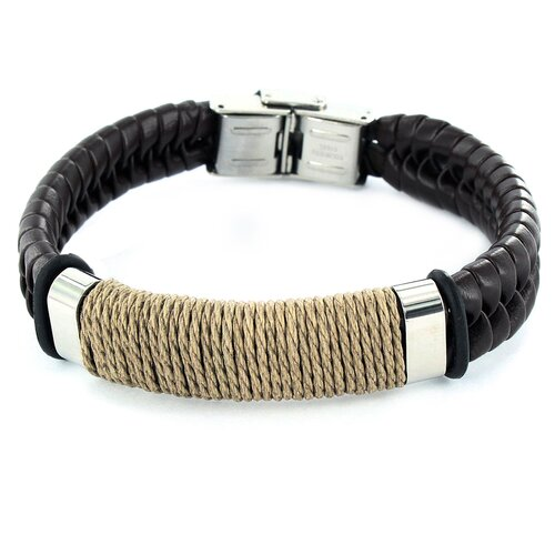 West Coast Jewelry Braided Band Wrapped Twine Center Bracelet