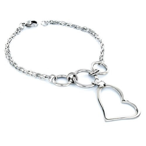 West Coast Jewelry Heart-shaped Charm Bracelet