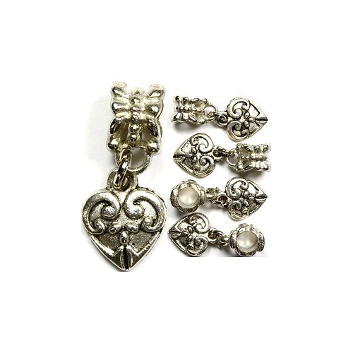 West Coast Jewelry Fancy Heart Antique Bead Charm