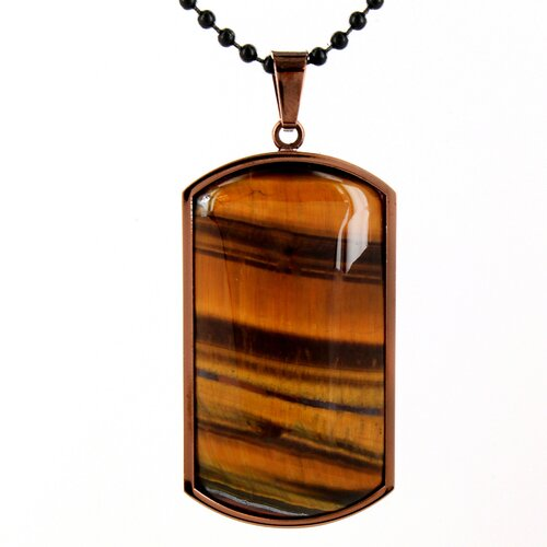 Stainless Steel Tiger's Eye Dog Tag Necklace