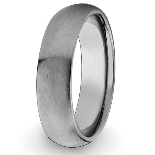Men's Titanium Domed and Brushed Comfort-fit Ring