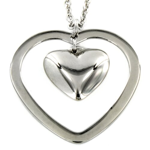 West Coast Jewelry Stainless Steel Double Heart Pendant and Necklace
