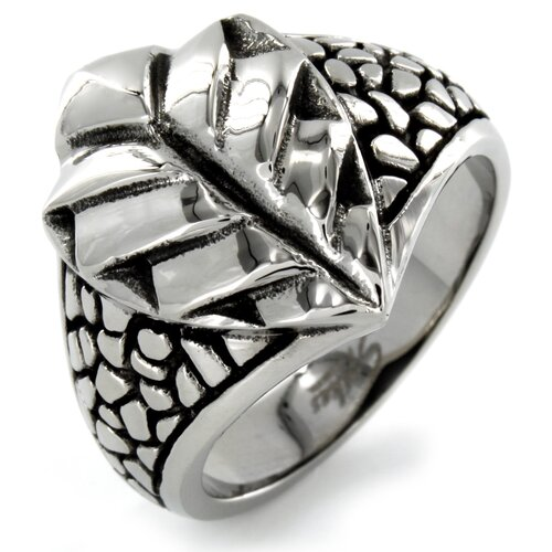Stainless Steel Cast Leaf and Stone Ring