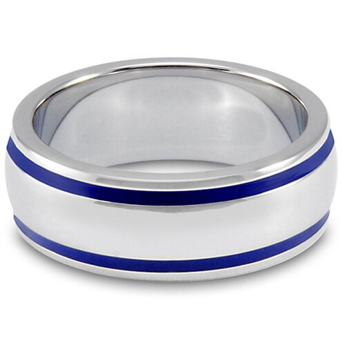 West Coast Jewelry Stainless Steel Groove Domed Band Ring
