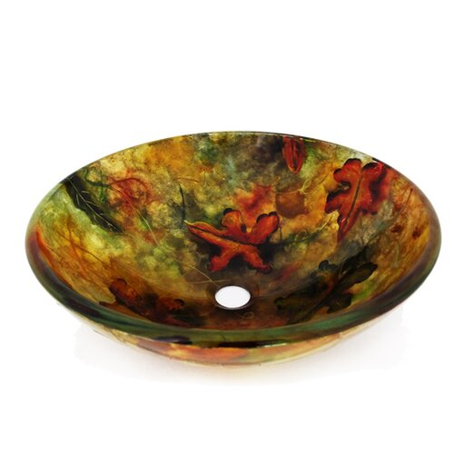 Legion Furniture Fall Leaves Vessel Bathroom Sink