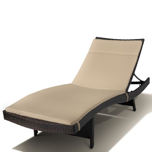 Home Loft Concept Montenegro Outdoor Wicker Adjustable Chaise Lounge with Cushions