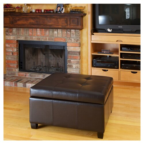 Home Loft Concept Leeds Bonded Leather Storage Ottoman