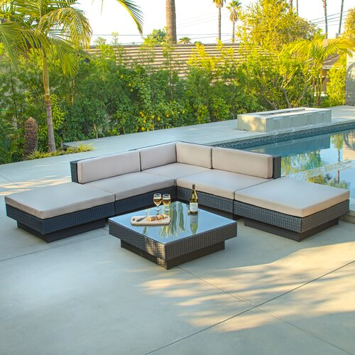 Home Loft Concept Mallorca Outdoor Six Piece PE Wicker Sofa Set
