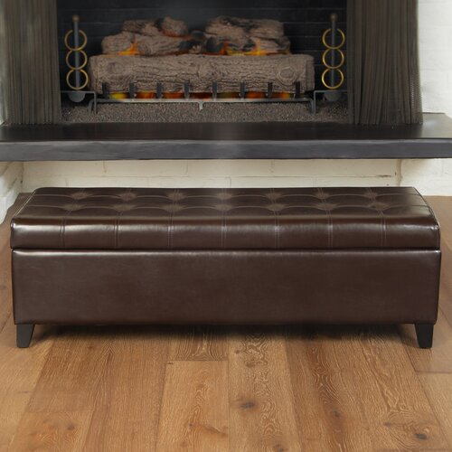 Home Loft Concept Trufant Bonded Leather Tufted Storage Ottoman Bench