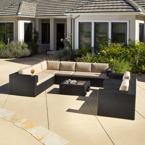 Home Loft Concept Brooklyn Wicker 7 Piece Outdoor Sectional